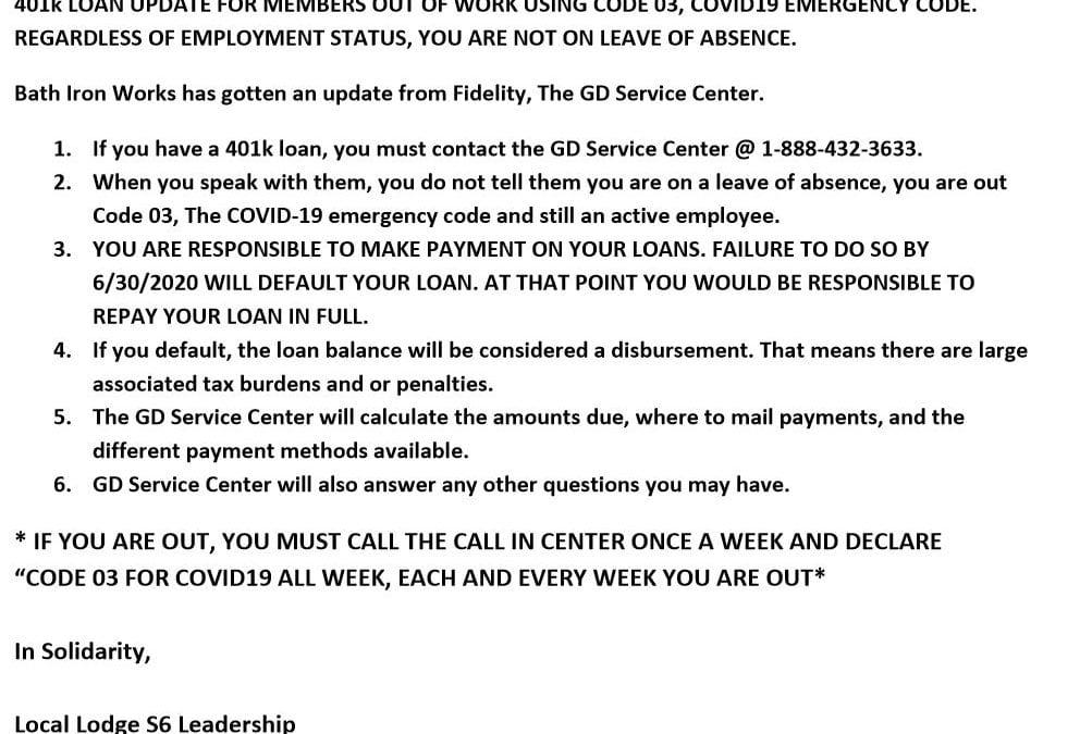 401K Loan Update –  Code 03